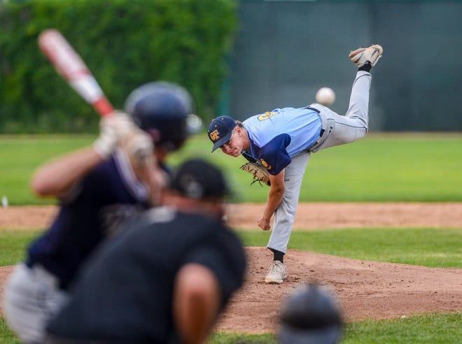 Great Falls Chargers' pitcher Cam McNamee delivers to the plate in Wednesday's game against the Missoula Mavericks during the Montana American Legion Baseball Class AA State Tournament at Centene Stadium.
