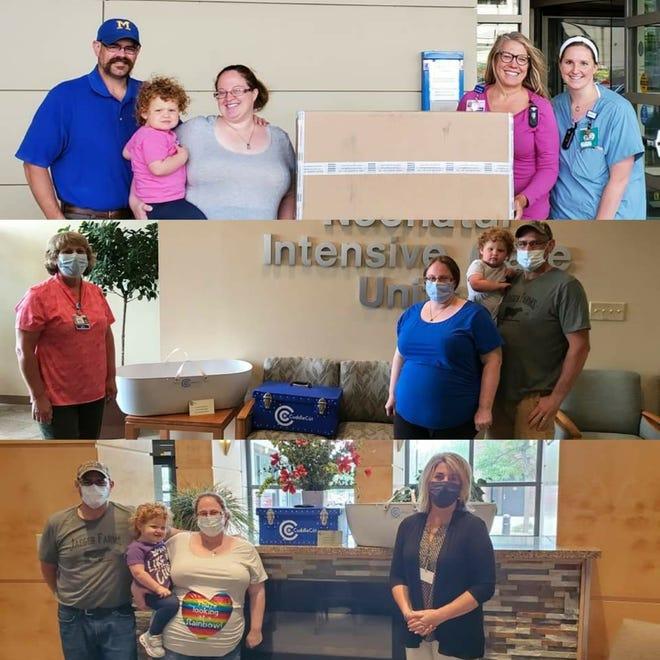"Megan Ason Eyson poses with the staff և their donation ""Cuddle Cots:"" at three hospitals: Froedtert Children's, ProHealth Waukesha Memorial և ProHealth Oconomowoc Memorial."