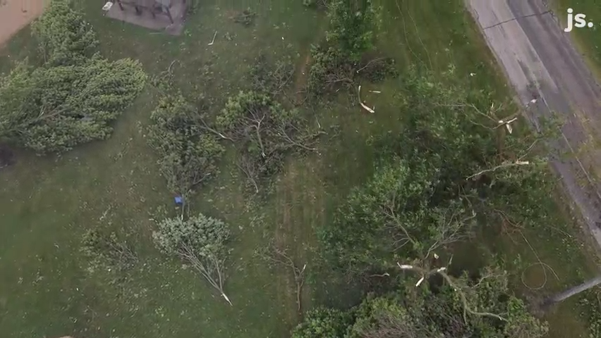 See drone footage of storm damage in Concord, Wisconsin