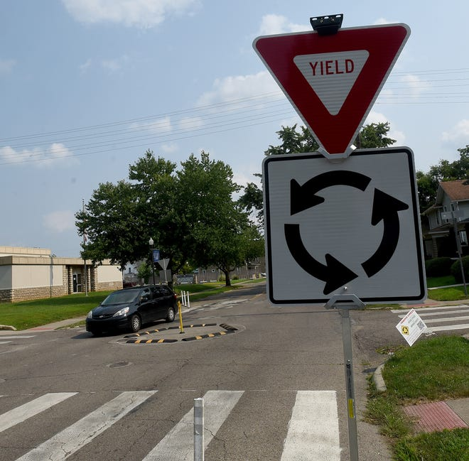 Smaller traffic circles were placed on Hudson Street at Shields and North streets to reduce speeds in the neighborhood and improve safety.