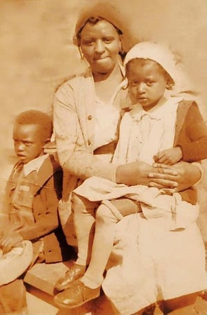 A photo of Licking County NAACP President Bryanna Stigger's grandmother, Regina Cable Wolford, the girl on the right. The photo is believed to have been taken in 1938, when she was 5. She is pictured with her mother, Bertha Wolford, and brother, Lorenzo Wolford.
