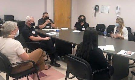 at far right, Senator Crystal R. Diamond met with the Leadership Team at Mimbres Memorial.