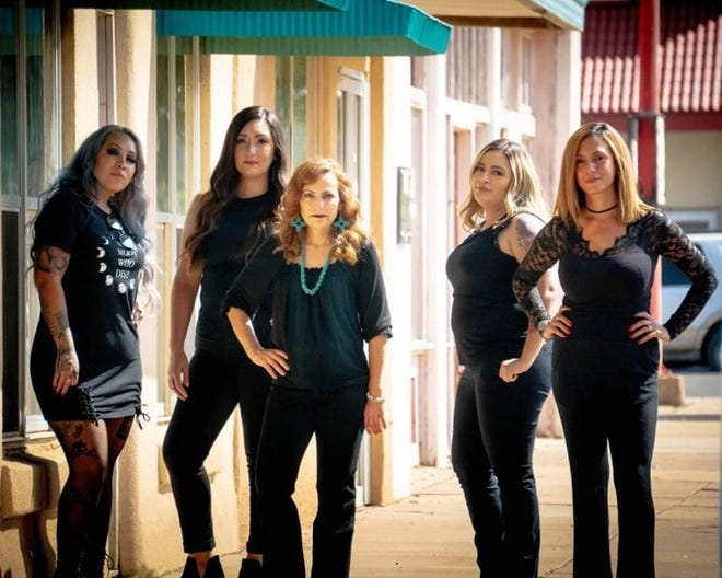 """New Aura Salon owner Cat Gutierrez (center) has put together a """"Dream Team"""" of stylists at the 113 N. Silver Avenue business. The salon with note the first-year anniversary on Monday, Aug. 2 with an Open House. From left are Crystal Gracia, Angelica Perales, Janet Pacheco and Selina Cook-Jordan."""