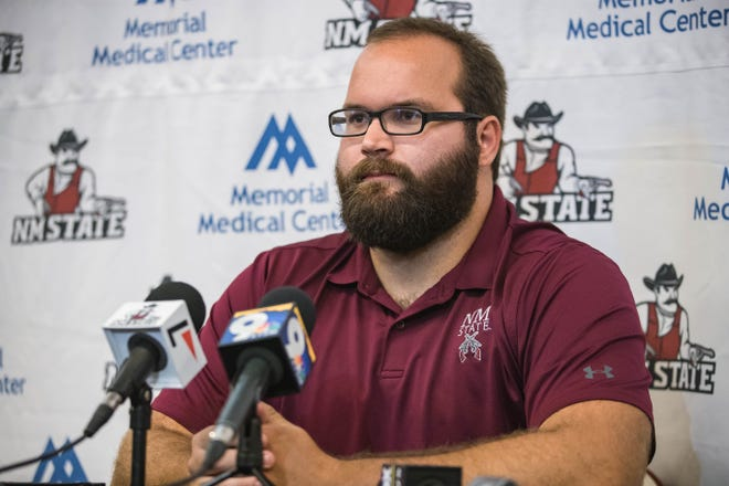 New Mexico State center Eli Johnson speaks on NMSU Campus on Thursday, July 29, 2021, at a media day before the first day of practice.