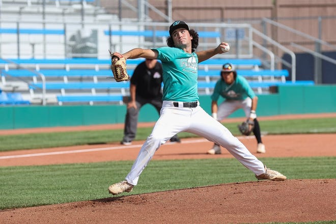 Frackers' Jacob Blaede pitches against Enid Majors on Tuesday, July 27, during Connie Mack World Series bracket play at Ricketts Park.
