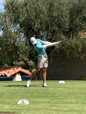 Blake Schmitt of Ironwood Country Club hit his drive on the 18th hole at La Quinta Country Club in his way to victory in the Desert Chapter PGA Chapter Championship Wednesday.