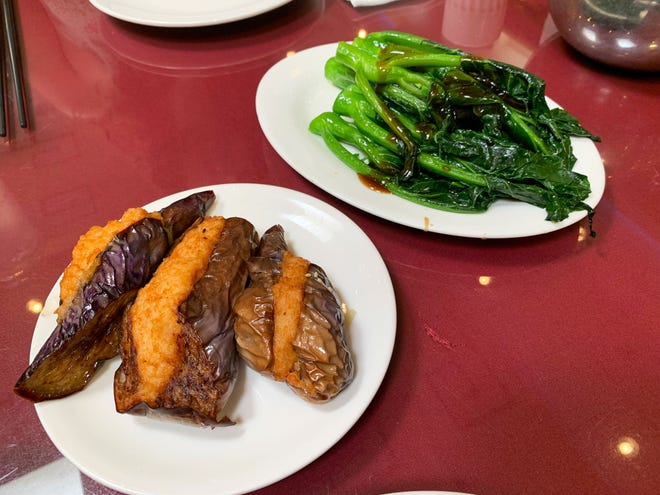 Shrimp stuffed eggplant and Chinese broccoli and Mekong Palace dim sum.
