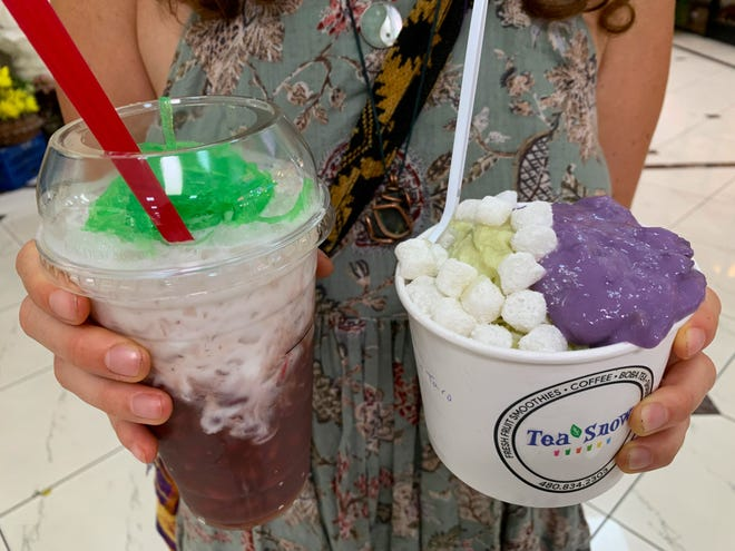 At Tea Snow, red bean coconut cream (left) features a big dollop of stewed red beans topped with sweet coconut milk and strings of grass jelly. Matcha shaved snow (right) combines earthy purple smashed taro and little white mochi balls.