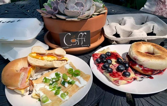 Mobile cafe Coffi offers savory and sweet blintzes, bagels, lattes with honey syrup and much more.