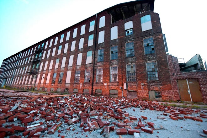 A building that formerly housed Big Ugly Warehouse in the 200 block of Sumner Street in West York was damaged Wednesday, July 28, 2021. The building was damaged during a storm last summer. Bill Kalina photo