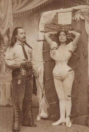Luckily the knife thrower in this late 19th century image was a better aim than the Hoosier rock thrower in today's story.