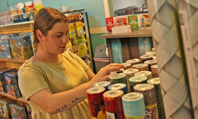 Jessica Cox shops for back-to-school supplies at the Teacher's Store in downtown San Angelo on Wednesday, July 28, 2021.