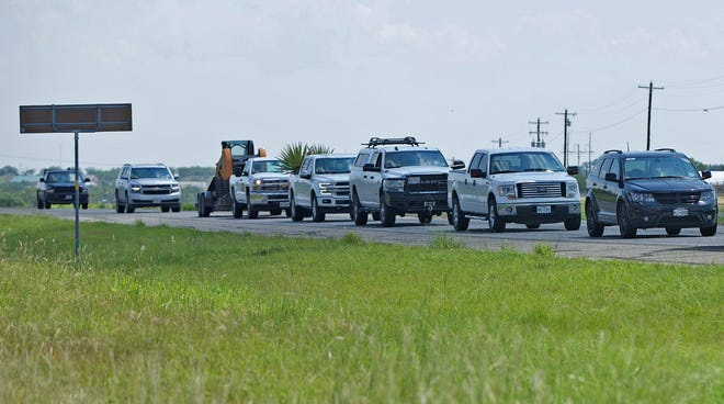 Traffic is backed up near the scene of a traffic collision on northbound U.S. Highway 67 north of San Angelo on Thursday, July 29, 2021.