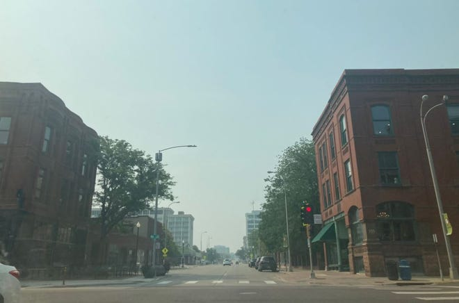 Smoke from wildfires in Canada is causing haze in the Sioux Falls area on Thursday, July 29, 2021.