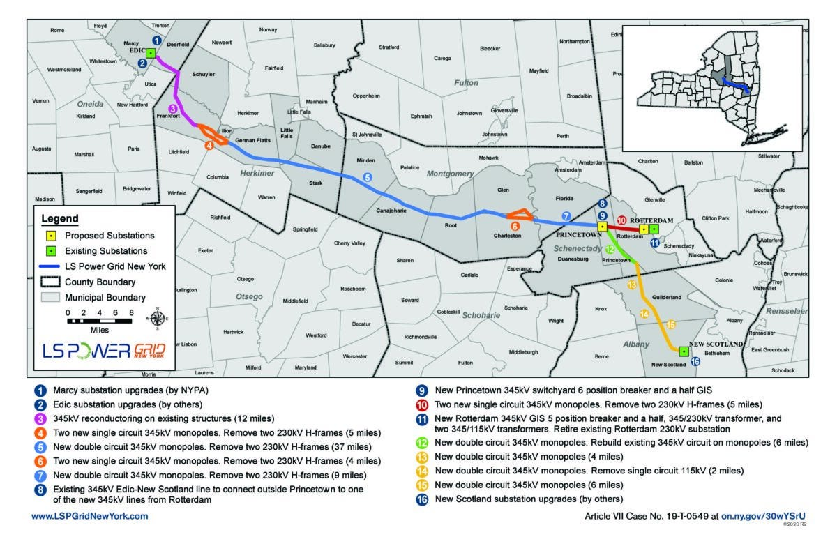 Map shows the path the Central East Energy Connect transmission lines will take along rights-of-way from Oneida to Albany counties. The 86-mile segment will link up with Transco's New York Energy Solution lines in Albany to deliver upstate renewable energy to the lower Hudson Valley and New York City for the first time.