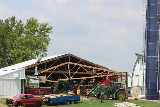 A pole building on the Kastenschmidt Farms on the county line of Fond du Lac and Green Lake Counties was damaged by strong straight-line winds that pummeled the Ripon area eary Thursday morning.