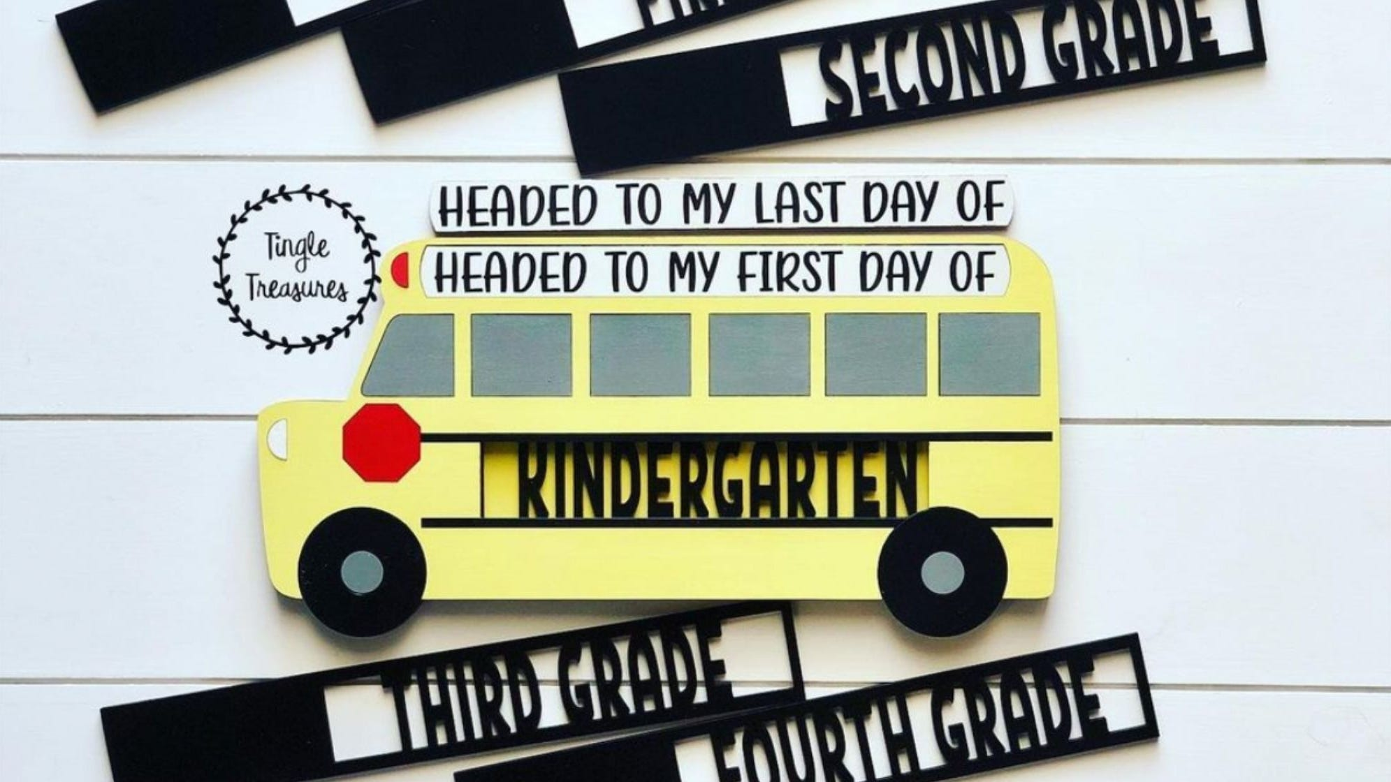 They'll be ready to roll into the first day of school with this school bus inspired sign.