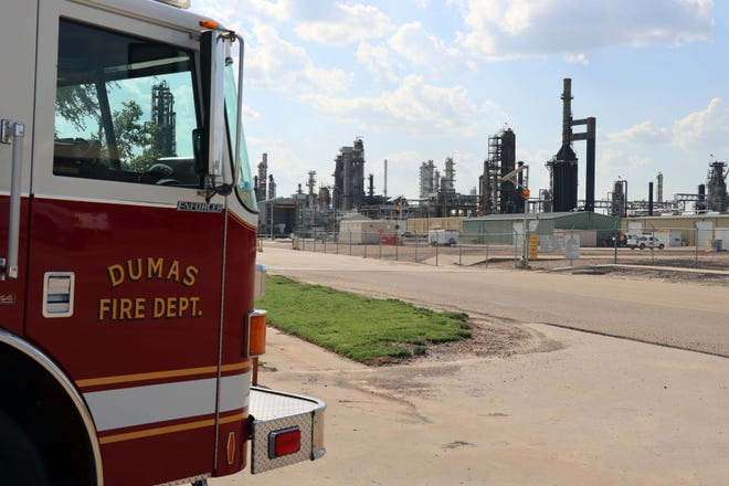 The Valero McKee Refinery and Dumas Fire Department honor the nineteen firefighters who lost their lives 65 years ago in 1956 at the Valero McKee Refinery fire during a Thursday evening memorial service.