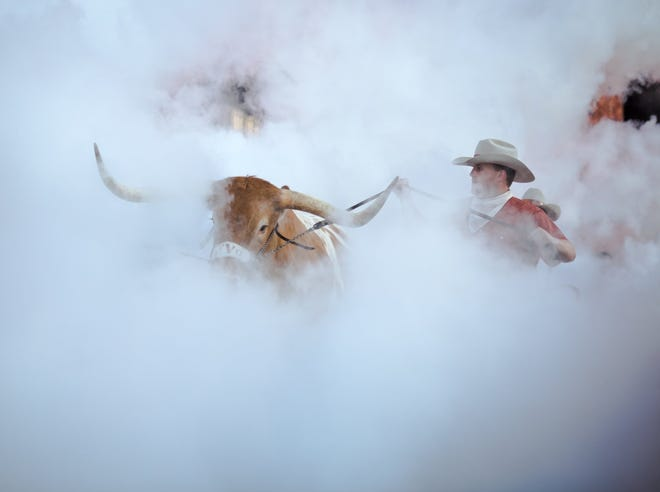 Bevo enters Royal-Memorial Stadium ahead of the 2019 season opener against Louisiana Tech. Both Texas and Oklahoma have accepted invitations to join the SEC.