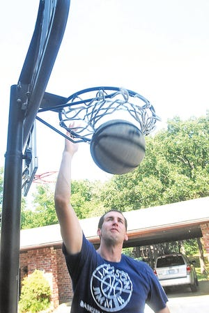 Back in 2010, Noah Hartsock jams the ball through the driveway hoop at his family's home just south of town. Hartsock averaged more than 26 points a game in 2005-06 and went on to star four years at Brigham Young University. He also played one year of pro ball in europe.