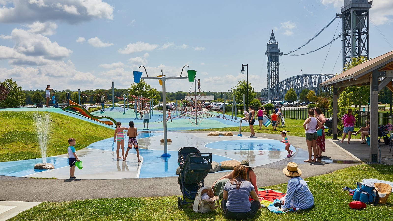 Buzzards Bay Park in Bourne reopens children's splash pad on canal.