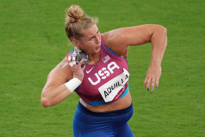 Oho State's Adelaide Aquilla competes in the women's shot put qualification during the Olympic Summer Games on Friday.