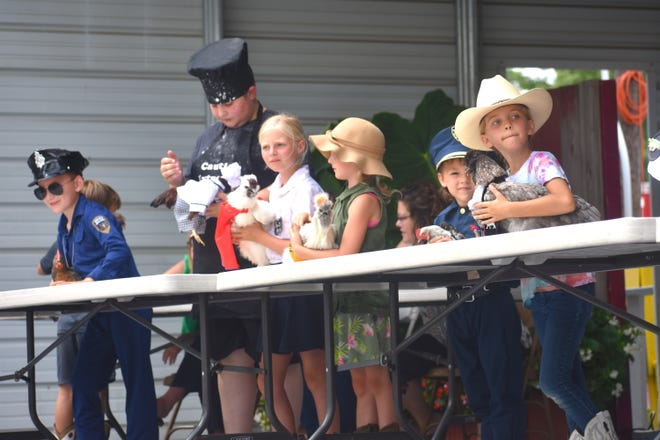 Area youth converged on the Lenawee County Fair's bandshell stage Thursday afternoon for the fair's annual goat and poultry fashion contest. Nearly 20 4-H youth dressed up their goats and poultry in some clever, wacky and zany costumes.