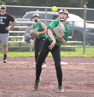 Herkimer pitcher Jenna Riesel throws the ball to first base July 20 after fielding a ground ball against Hamilton in Whalen Park High School Fastpitch Softball League play at David P. Whalen Memorial Park in Ilion. Riesel and her teammates shut out Hamilton.