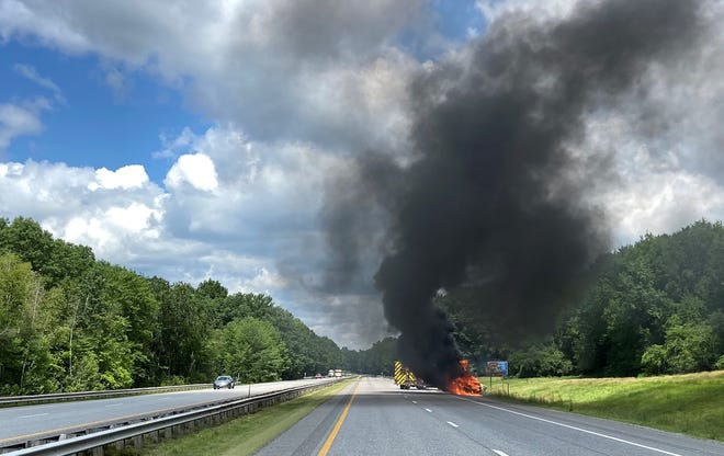 A vehicle burst into flames Friday afternoon on the Spaulding Turnpike. First responders say there were no injuries.