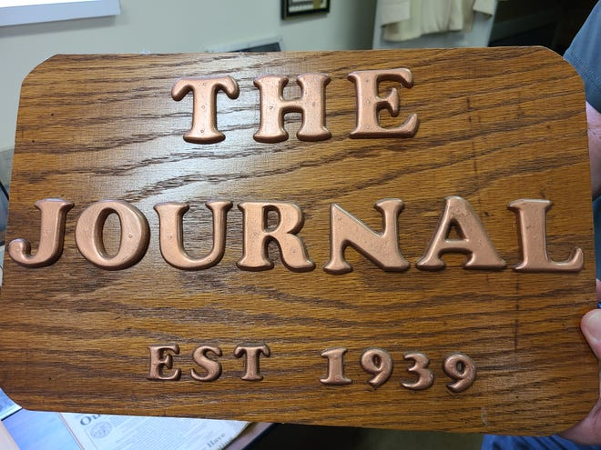 A plaque at the Ellettsville History Center commemorates the Ellettsville Journal's founding in 1939.