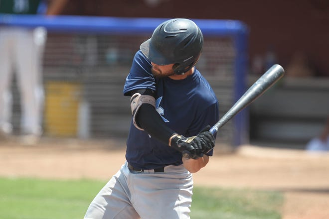 Hutchinson Monarchs' Cole Cosman swings during an at-bat during the losers bracket game against the Great Bend Bat Cats Friday, July 30, 2021 at Hobart-Detter Field.