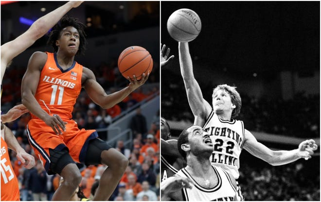 Former Illinois players Ayo Dosunmu, left, and Doug Altenberger, right, were the last two players drafted by the Chicago Bulls. Dosunmu was picked 38th overall in 2021 and Altenberger 125th overall in 1987.