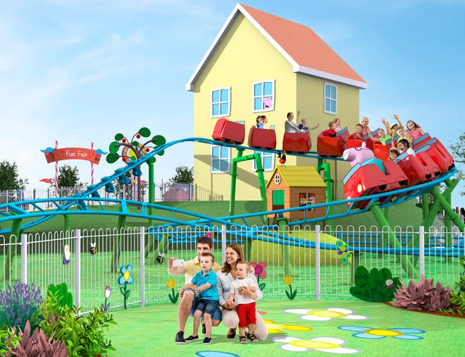 An artist's rendering depicts Daddy Pigs Roller Coaster ride at Peppa Pig Theme Park at Legoland Florida Resort.