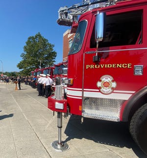 The Fire Department's new ladder truck is among six new fire trucks unveiled on Friday morning.