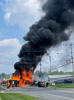 Jackson Township police and fire are responding after a fiery crash Friday afternoon on Portage Street NW.