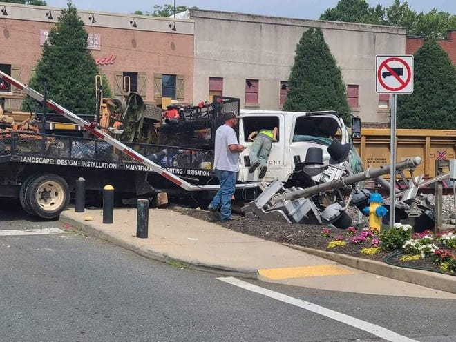A landscaping truck was struck by a train in Kings Mountain Friday morning.