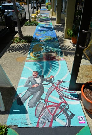 The Chalk Festival Avenue of Art, located along Pineapple Avenue, between its intersection with South Orange Avenue and the Ringling Boulevard roundabout, offers the story of 100 years of Sarasota on individually painted sections of the sidewalk. The centennial display will be available through September and pressure washed away in October.