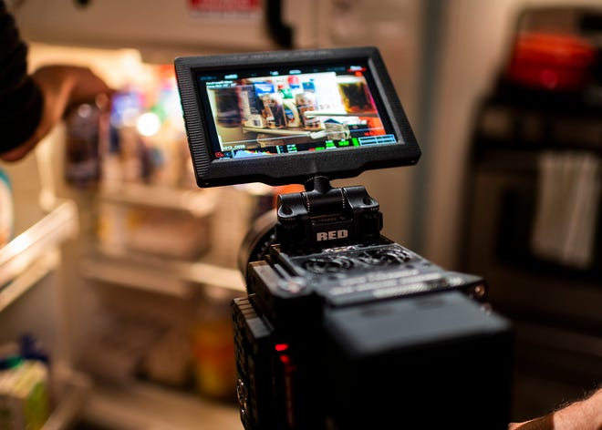 """The view through the camera lens of the speciallyconstructed set at 344 Franklin St. for the film """"Mercy."""""""