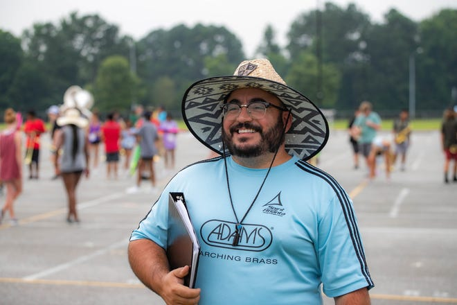 New Gadsden City High School band director Chris Benedetti is seen during band camp at the school Friday.