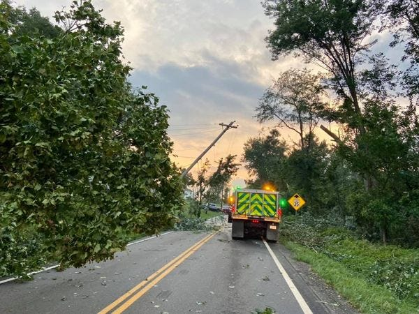 A storm Thursday caused major damage along state Route 519 near New Athens in Harrison County.