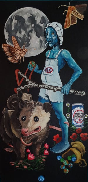 """""""Appalachian Smurf"""" by Jason Miracle is part of the """"Brute Force"""" exhibition."""