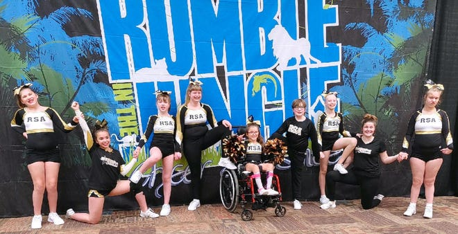 This spring during the Rumble in the Jungle in Brookings, Shooting Stars team members Kadynce, left, Kendra Meidinger Cartney, Emily Johnson, Alexis, Maddie, David Johnson, Kira, Meara Sharisky and Kalee showed the audience and neighboring teams their practiced cheer routine.