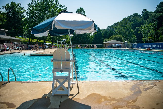 An empty lifeguard chair at the Recreation Park pool in east Asheville on Thursday, July 29, 2021.