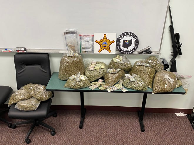 During a pair of searches Thursday, officers seized a large amount of suspected marijuana, estimated to weigh more than 20 pounds; Xanax; acid; mushrooms; firearms; more than $27,000 cash; and drug paraphernalia.