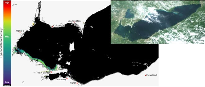 Lake Erie satellite image on Jul 28, 2021 shows bloom location and extent in the western basin. Grey indicates clouds or missing data. The estimated threshold of cyanobacteria detection is 20,000 cells/mL.