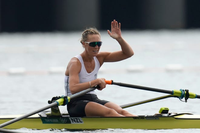 Emma Twigg, of New Zealand reacts after winning the gold medal in the women's rowing single sculls final at the 2020 Summer Olympics, Friday, July 30, 2021, in Tokyo, Japan.