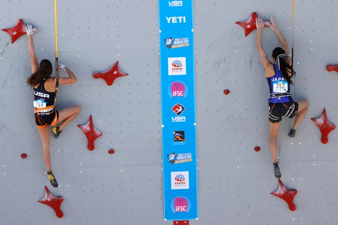 May 28, 2021; Salt Lake City, Utah, USA; Brooke Raboutou (USA), left and Akiyo Noguchi (JPN) compete in qualifications during the FIS Climbing World Cup Speed competition at INDUSTRY SLC. Mandatory Credit: Jeffrey Swinger-USA TODAY Sports