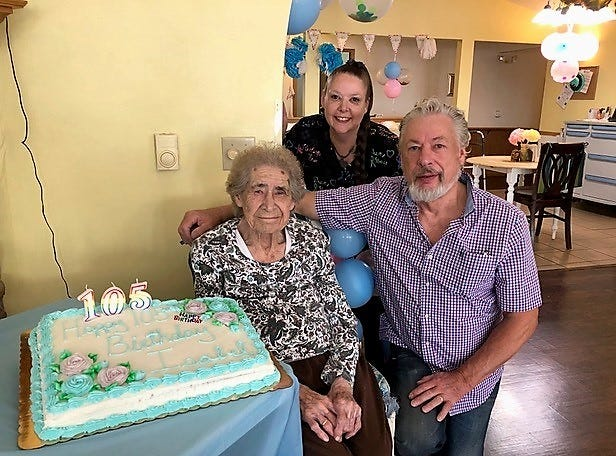 Isabel Adlebush celebrated her 105th birthday July 23 with her son Larry Adlebush and his daughter Michelle Liegeois, at Sun Valley Homes 2 in Oconto.