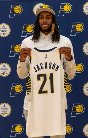 Indiana Pacers' draft pick Isaiah Jackson poses during a press conference at Ascension St. Vincent Center in Indianapolis, Friday, July 30, 2021.