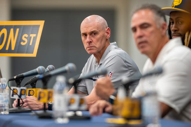 The Pacers' head coach Rick Carlisle listens as president of basketball operations, Kevin Pritchard, talks about the team's 2021 draft picks during a press conference at Ascension St. Vincent Center in Indianapolis, Friday, July 30, 2021.